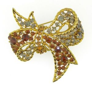 VTG Large Rhinestone Bow Brooch / FANCY elegant